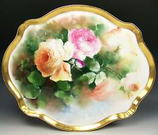 """BEAUTIFUL LIMOGES HAND PAINTED PEACH ROSES 16"""" TRAY PLATTER ARTIST SEIDEL/WORTH"""