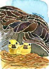 ACEO Limited Edition- Keeping warm in mom's bosom, Art card by Anna, Gift idea