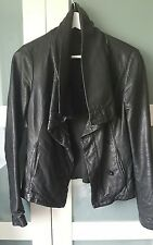 ALL SAINTS 8 (will fit 10) black leather HYDE biker waterfall jacket