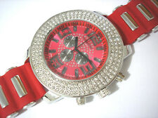 Iced Out Bling Bling Techno King 7 Color Light Men's Watch Silver Red Item 3116