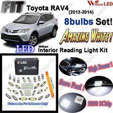 8 Lamps Xenon White LED Interior Light Kit Package For Toyota RAV4 2013-2014