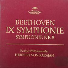 BEETHOVEN SYMPHONIEN 8 & 9 BP HERBERT VON KARAJAN 2-LP BOX (c439)