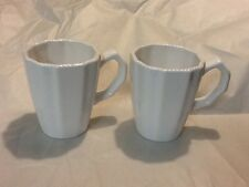 ONE American Atelier Nwt New White Country Mugs Scalloped Edge