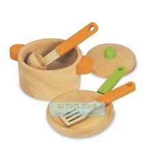 Natural Wooden Cooking Set Kitchen UtensilsToy Pots Pans Pretend Play