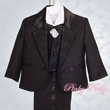 5pc Set Formal Suits Outfits Christening Wedding Page Boys Black 0m-3m ST022A