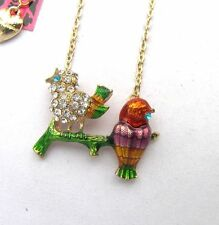 Betsey Johnson Shiny crystal Color enamel Two pretty little birds Necklace