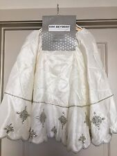 Kim Seybert Cream Ivory White Beaded Christmas Tree Skirt - Brand New-
