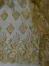 "GOLD METALLIC CORDED EMBROIDERY MESH LACE FABRIC 50"" WiIDE 1 YARD"
