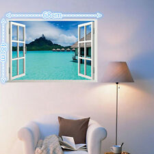 Removable 3D Ocean Window Home Decor Sticker Wall Decal Exotic Sea View Mural RS