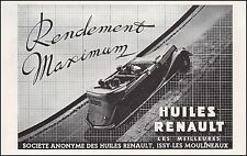 Publicité Huiles  Renault  Automobile car photo vintage ad  1936 - 11h