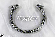 Silver Viking Fenrir Wolf Bracelet/Torc/Torque -- Norse/Medieval/Jewelry/Skyrim