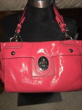 Coach  Chelsea Patent Coral Leather Peyton Carryall Satchel Handbag ��