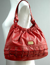 BUTTERFLY Matthew Williamson LARGE SOFT STRAWBERRY RED LEATHER SHOULDER HOBO BAG