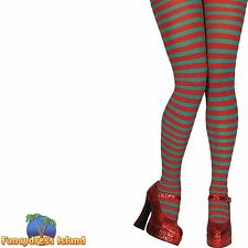 RED & GREEN CANDY STRIPE XMAS ELF TIGHTS One Size FAST POST Womens Hosiery