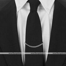 1x Mens Silver Classic Necktie Tie Clip Link Chain Cravat Clip Collar Pin Brooch