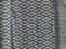 Indigo Hand Block Print Kantha Throw Indian Quilt Queen Reversible Ikat Bedding
