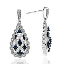 Enhanced Blue & Natural Diamond Accent Teardrop Earrings in Sterling Silver