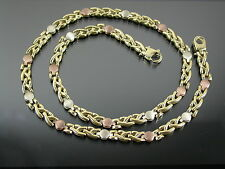 VINTAGE 9ct 3 colour GOLD FLAT FANCY LINK NECKLACE CHAIN 16 inch C.1980