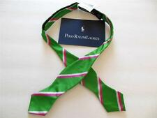 Polo Ralph Lauren ITALY Men NWT Silk Bow Tie Pink Green Stripe Skinny O/S NEW
