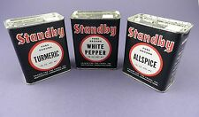 Three Stanby Vintage Spice Tins - Unused Stock -Turmeric, Allspice, White Pepper
