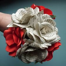 Stunning Handmade Red Paper Rose & Book Rose Bouquet - 6 stems - Made to order