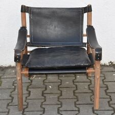 "h4i93- Design Sessel, ""Safari Chair"" Arne Norell, Holz und Leder, um 1960/70"