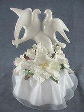 White Glazed Porcelain Doves Wedding Cake Topper with Gardenia Flowers & Skirt