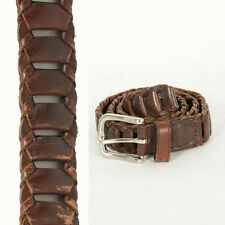 "WOMENS VINTAGE BELT BROWN LEATHER PLAIT PLAITED DETAIL WAIST STYLE 26"" - 32"""