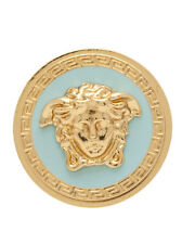 VERSACE GOLD PLATED BRASS TURQUOISE MEDUSA MEDALLION STATEMENT RING Sz.8 US/17IT