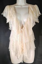 Crochet Cardigan Sweater 1920's Tiered Vintage Style Lace Pale Pink Size Small
