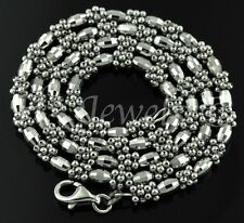 18k solid white gold diamond cut bead chain necklace Italy 15.70 grams #1870 h3