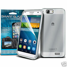 Tough Thin Clear Gel Case Cover & Smart Glaze LCD Film for Huawei Ascend G7