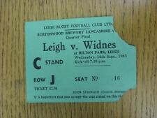 14/09/1983 Ticket: Rugby Union - Leigh v Widnes [Lancashire Cup] (Torn Corners).