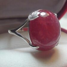 Natural! Blood Pink Ruby 31.50 ct Ring,Fine Estate Jewelry 925 SSilver.Size9.25.