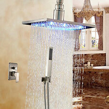 "Color Changing LED 16"" Shower Faucet Set w/Hand Spray Nickel Brush Ceiling Mount"