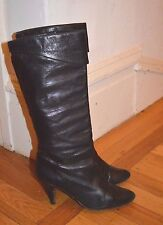 Chantal Designer Mid-Calf Pull-On Black Glove Leather Boots (Sz 5) Italian Made
