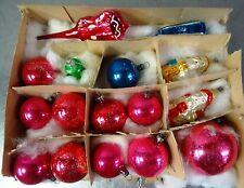 """Antiker Weihnachtsschmuck """" Laucha """" 16 Stück Bunte Glaskugeln Nikolaus Glocke"""