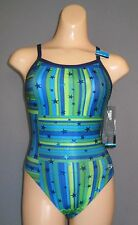 NEW NWT 0 26 SPEEDO Star Mania FLYBACK Womens SWIMSUIT $66 819469 Blue Green