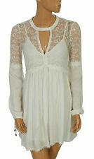 134962 NWD Bershka White Tulle Embroidered Wedding Lace Tunic Babydoll Dress S