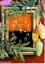1985 Russian card HAPPY NEW YEAR: Clock 5 minutes to midnight, ornaments