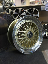 "19"" GOLD & POLISHED RETRO HC STYLE STAGGERED WHEELS FITS AUDI,VW,MERCEDES"