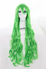 Y-20-27 vert green 100cm cosplay wig perruque perruque curl cheveux bouclés anime manga