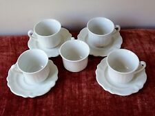 5 TEA CUP AND 4 SAUCER SET HEIRLOOM RED CLIFF WHITE & IRONSTONE