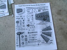 Samson Model M  Windmill Parts Lists &  Diagrams
