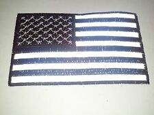 "(BB) REFLECTIVE BLACK & WHITE AMERICAN FLAG 4"" x 2.5"" iron on patch (4104) Vest"