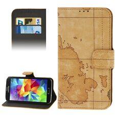 Book Tasche Retro Style Weltkarte für Samsung i9600 Galaxy S5 grau SM-G900F