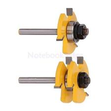 2Pcs Adjustable Tongue Groove Router Bit Set 1/4inch Shank Woodworking Tool
