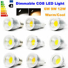 Dimmable LED E27 GU10 MR16 6W 9W 12W COB Spotlight Downlight Warm Day White Bulb
