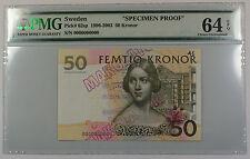 """1996-2003 Sweden 50 Kronor Note Pick #62sp PMG 64 C UNC EPQ """"Spec Proof"""" Details"""