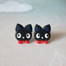 Fimo Black Jiji Cat Girls Daughters Emo Catlovers Gifts Fancy Dress Emo Earrings
